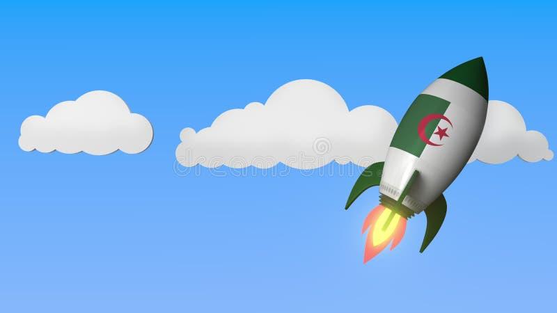 Flag of Algeria on rocket flying high in the sky. Algerian success or space program related 3D rendering vector illustration