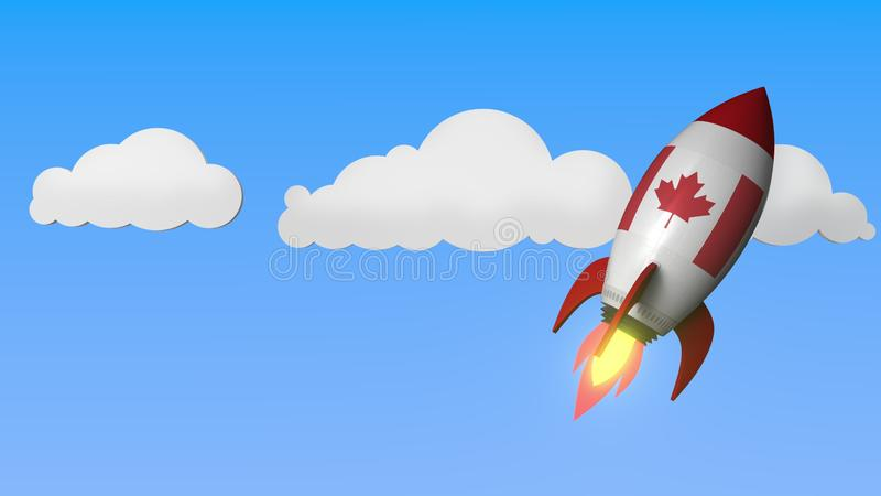 Flag of Canada on rocket flying high in the sky. Canadian success or space program related 3D rendering stock illustration