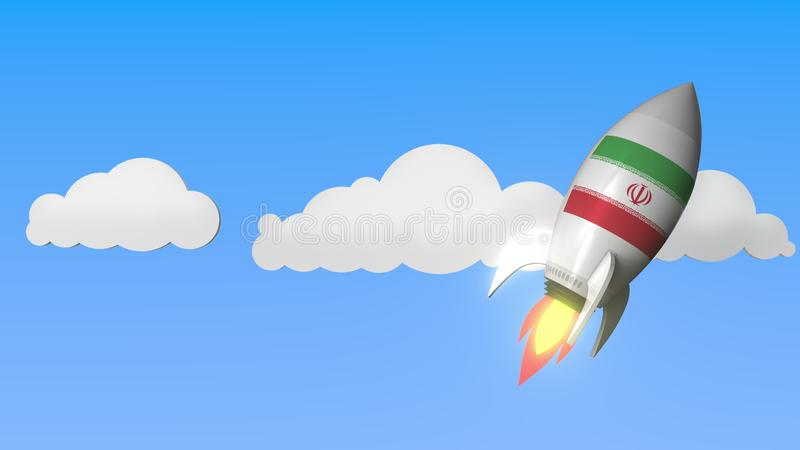 Flag of Iran on rocket flying high in the sky. Iranian success or space program related 3D rendering stock illustration