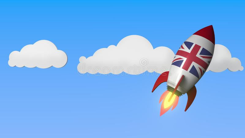 Flag of the United Kingdom on rocket flying high in the sky. British success or space program related 3D rendering stock illustration