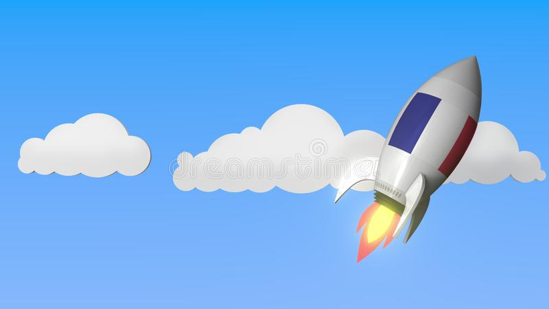 Rocket with flag of France flies in the sky. French success or space program related 3D rendering vector illustration