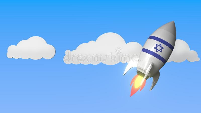 Rocket with flag of Israel flies in the sky. Israeli success or space program related 3D rendering vector illustration