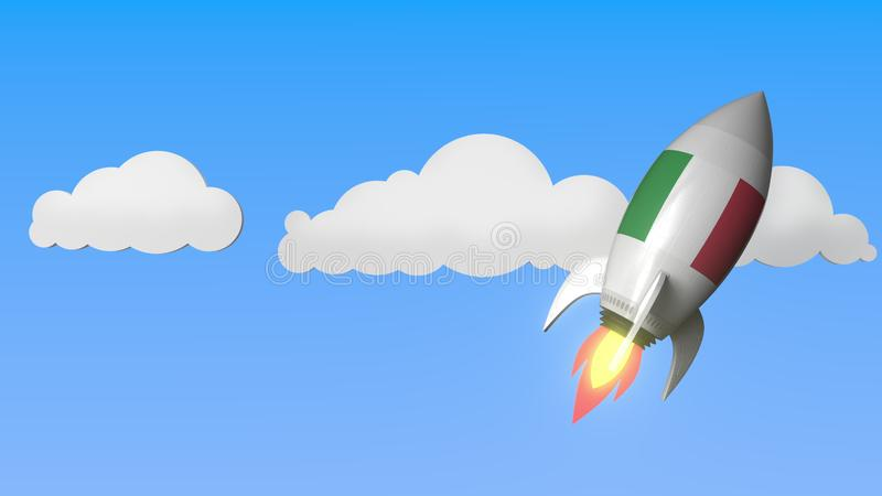 Rocket with flag of Italy flies in the sky. Italian success or space program related 3D rendering royalty free illustration