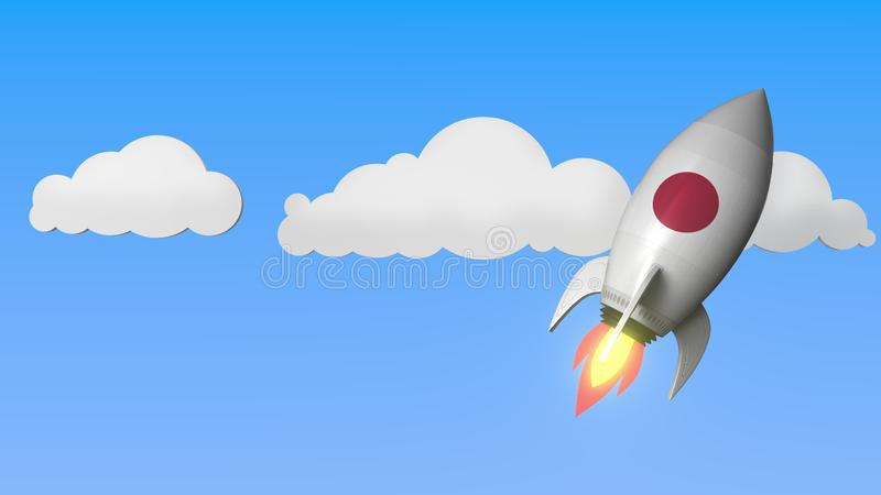Rocket with flag of Japan flies in the sky. Japanese success or space program related 3D rendering vector illustration