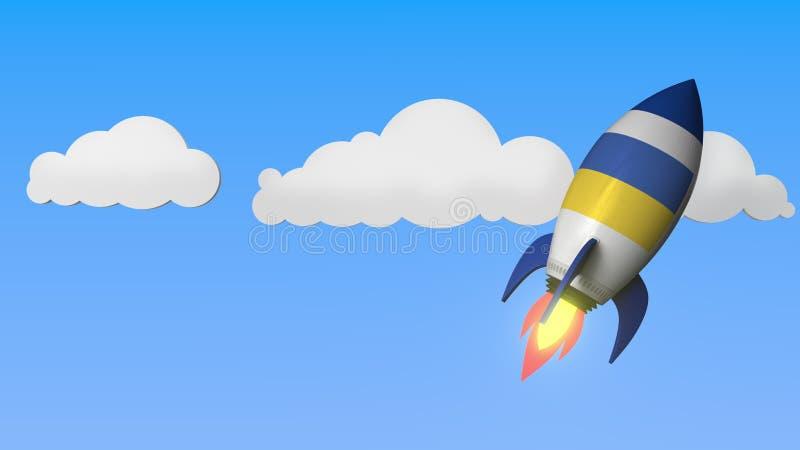 Rocket with flag of Ukraine flies in the sky. Ukrainian success or space program related 3D rendering. Rocket with flag flies the sky. 3D vector illustration
