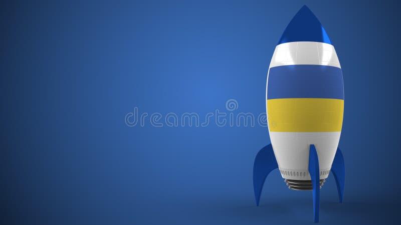 Rocket with flag of Ukraine. Ukrainian hitech or space program related conceptual 3D rendering. Rocket with national flag. 3D stock illustration