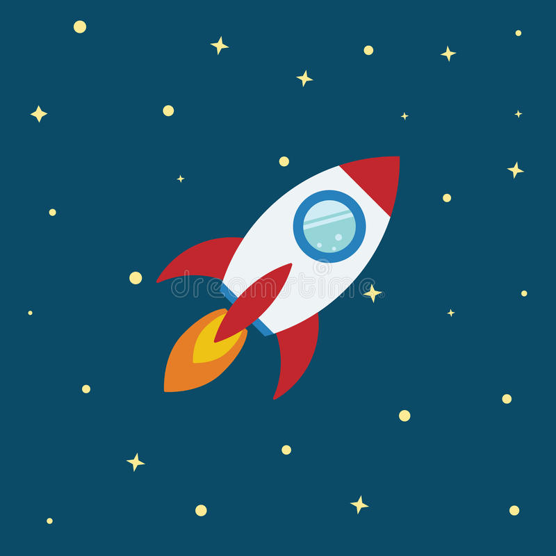Rocket flat design concept. royalty free illustration