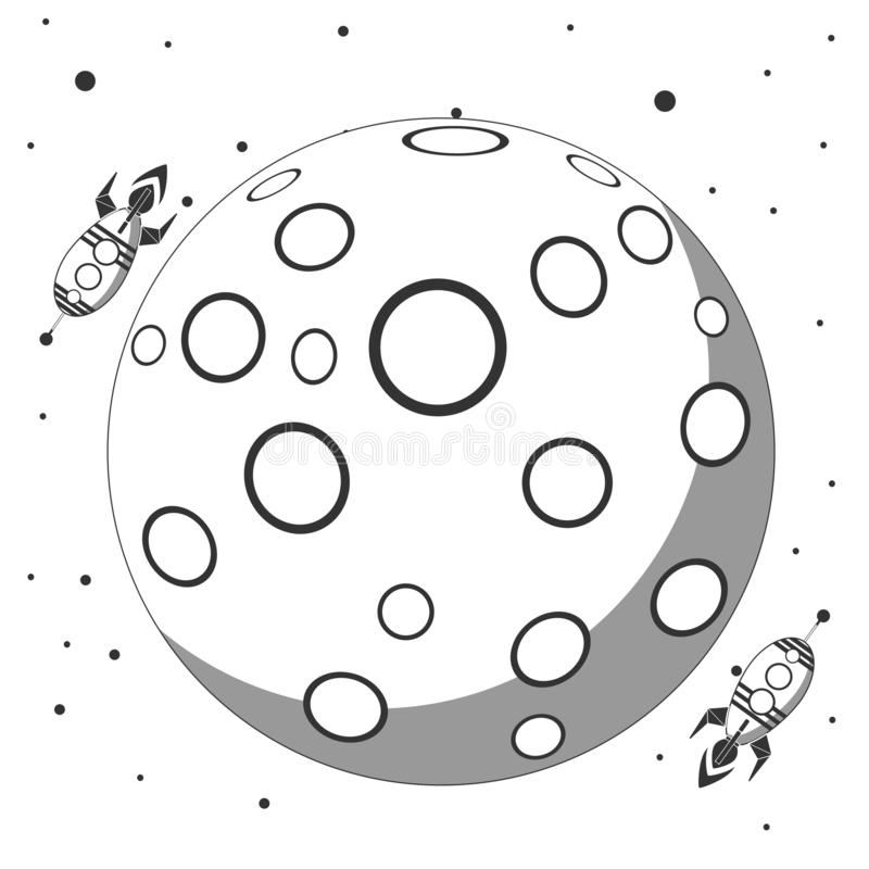 Rocket flies around the moon flat design icon isolated on white background stock illustration