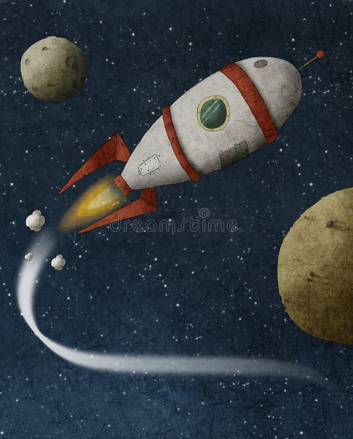 Rocket flies through space stock illustration