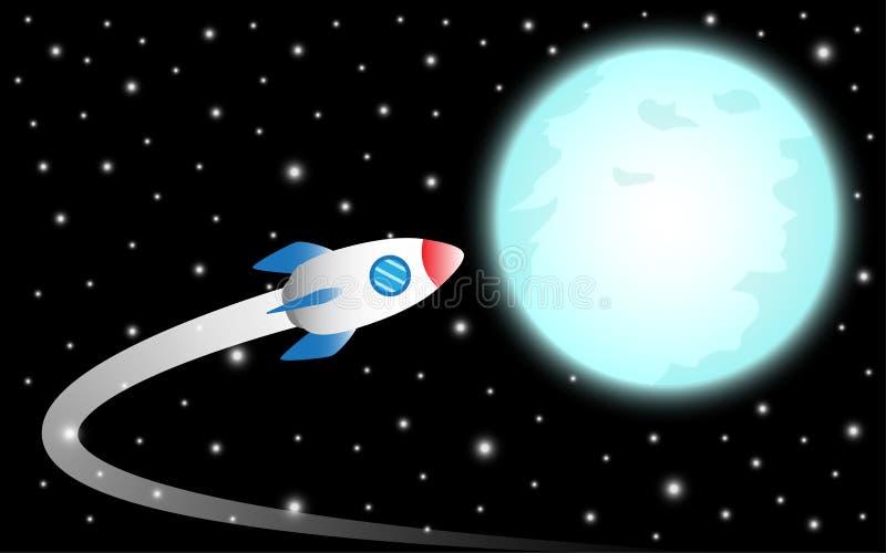 Rocket Flies To The Moon royaltyfri illustrationer