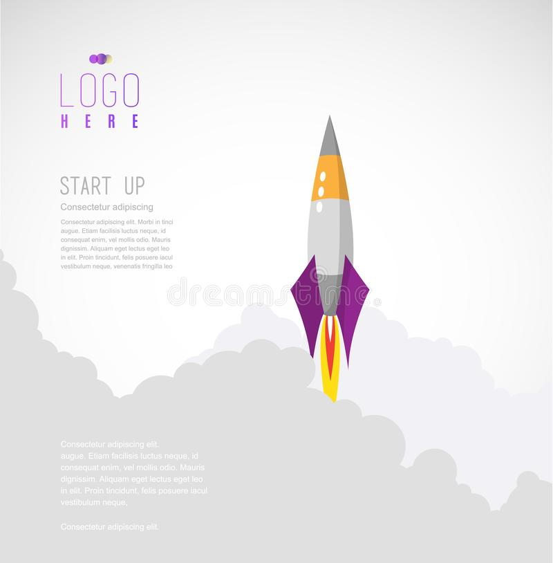 Rocket flies up to sky leaves behind clouds of smoke. Simple vector startup website template stock illustration