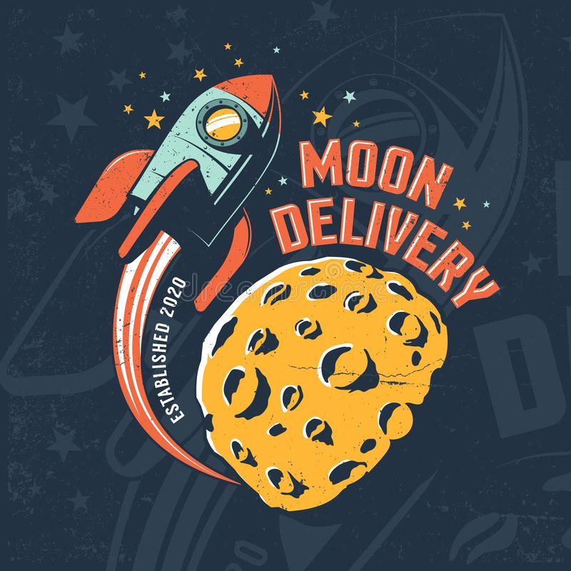 Rocket fly around Moon. Vintage space poster vector illustration