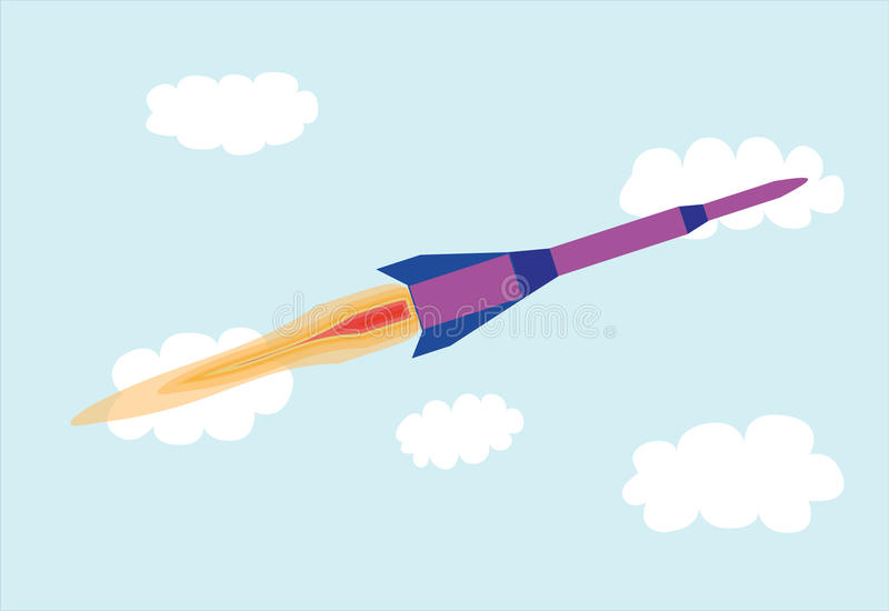 Rocket fly in the sky royalty free illustration