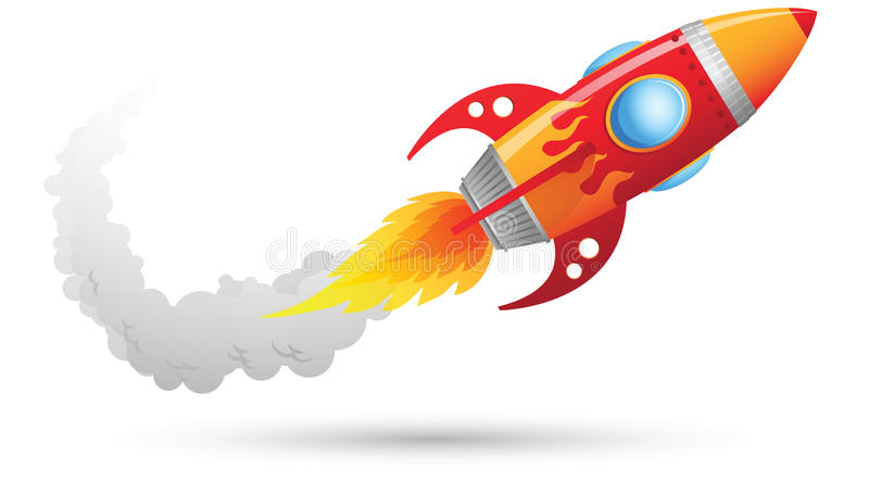 Rocket Flying. Illustration of Flying Rocket with smoke trail
