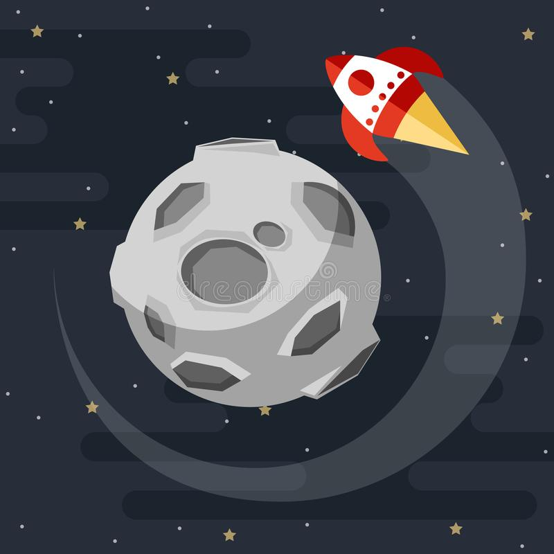 Rocket is flying around the moon. vector stock illustration
