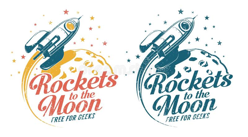 A rocket flying around the moon - vintage emblem poster print royalty free illustration