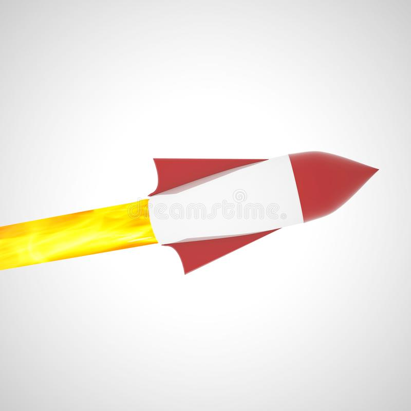 Rocket flying in empty sky royalty free stock images
