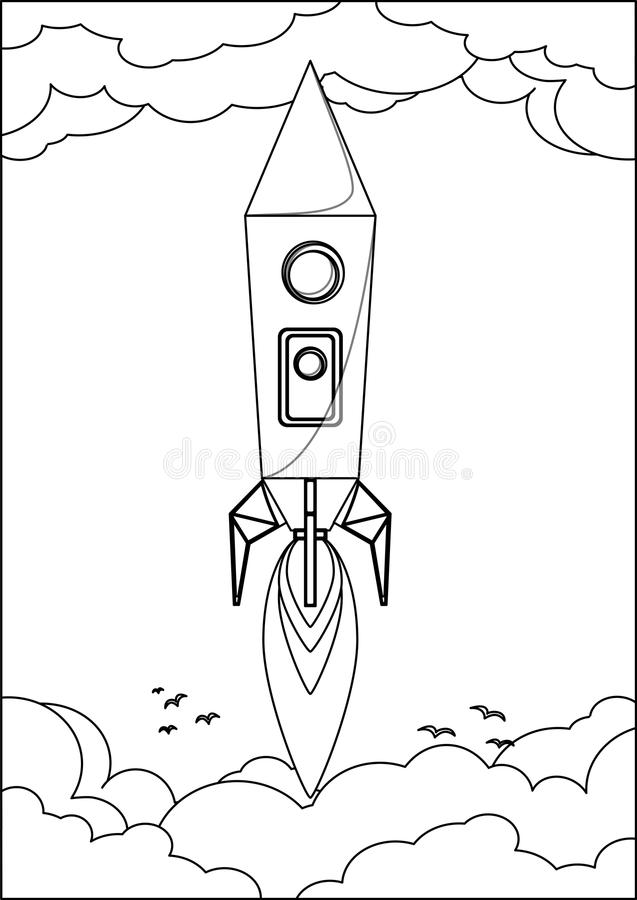 Rocket Flying en espacio a través del cielo con libre illustration