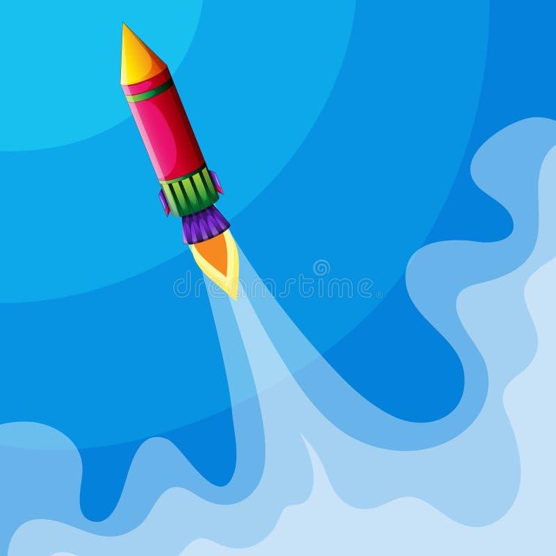Rocket flying high in sky stock illustration