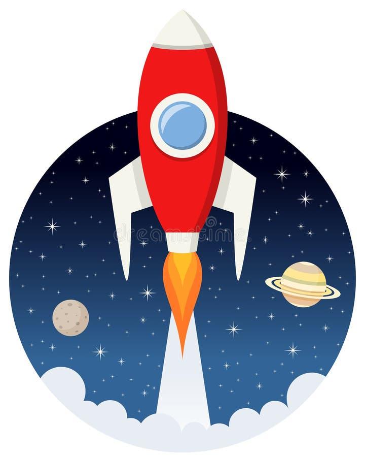 Rocket Flying rouge dans l'espace avec des étoiles illustration libre de droits