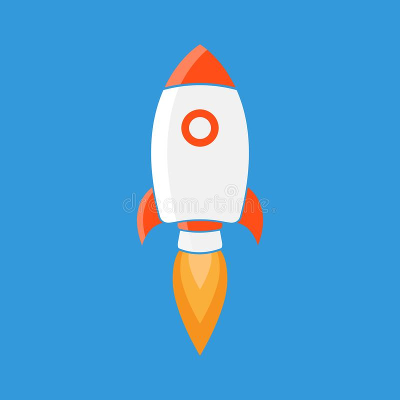 Rocket is flying on the sky, start up concept vector illustration