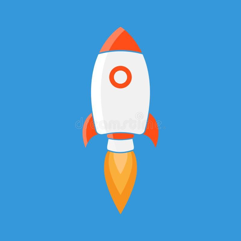 Rocket is flying on the sky, start up concept vector illustration