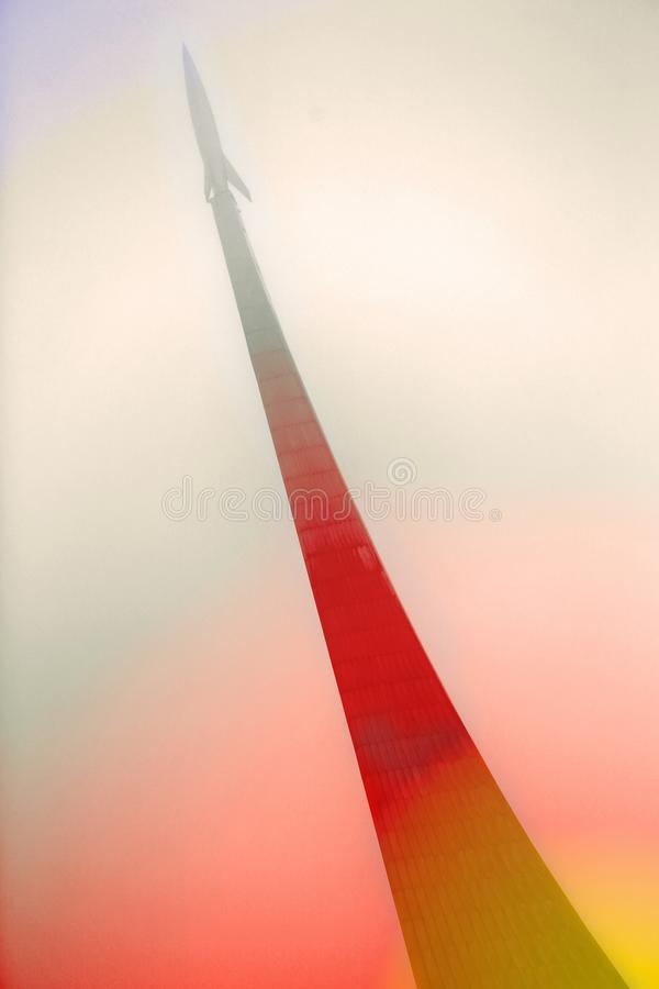 Rocket flying in space stock images