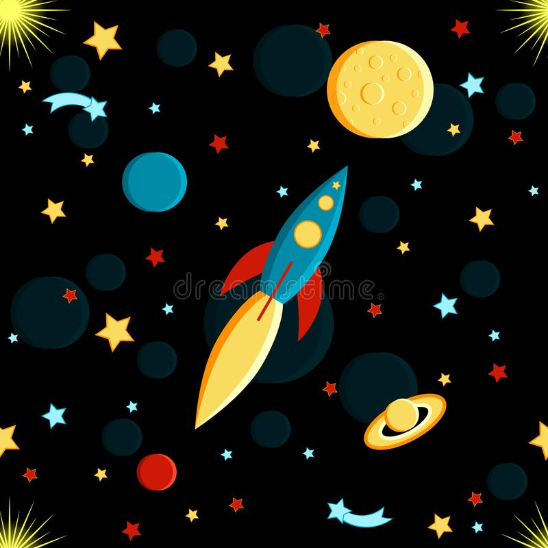 Rocket flying to the moon. Sun, Saturn, Earth, other planets, stars, comets, space Seamless pattern. Rocket flying to the moon. Sun, Saturn, Earth, other planets vector illustration