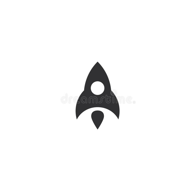 Rocket flying up icon. Black ship launch. Innovation product logo. Business aspiration strategy vector illustration on. White background royalty free illustration
