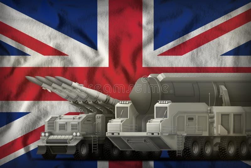 United Kingdom UK rocket troops concept on the national flag background. 3d Illustration. Rocket forces on the United Kingdom UK flag background. United Kingdom royalty free illustration