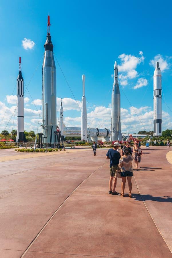 Rocket Garden em Kennedy Space Center Florida imagens de stock