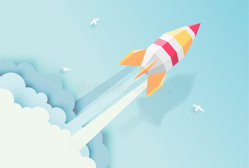 Rocket, globo, nube, cielo, estilo de papel del arte con color en colores pastel stock de ilustración