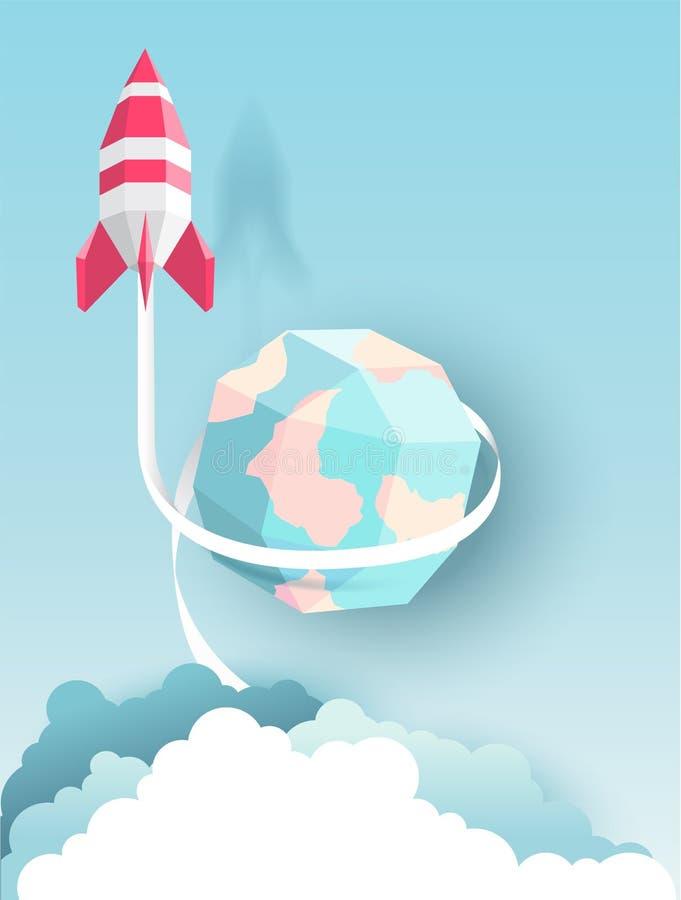 Rocket, globo, nuvem, céu, estilo de papel da arte com cor pastel ilustração royalty free