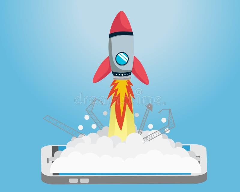 Rocket Go plat de démarrage de téléphone intelligent illustration stock