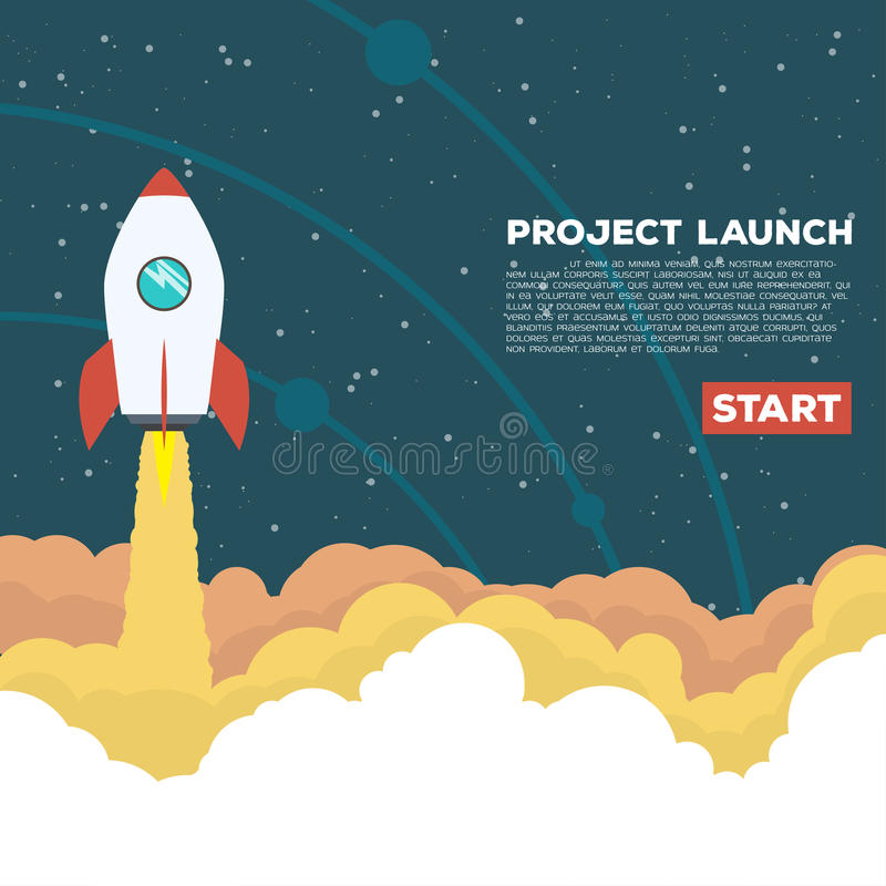Rocket goes up. Flat style illustration. Rocket goes up in the sky with stars. Project start up concept royalty free illustration