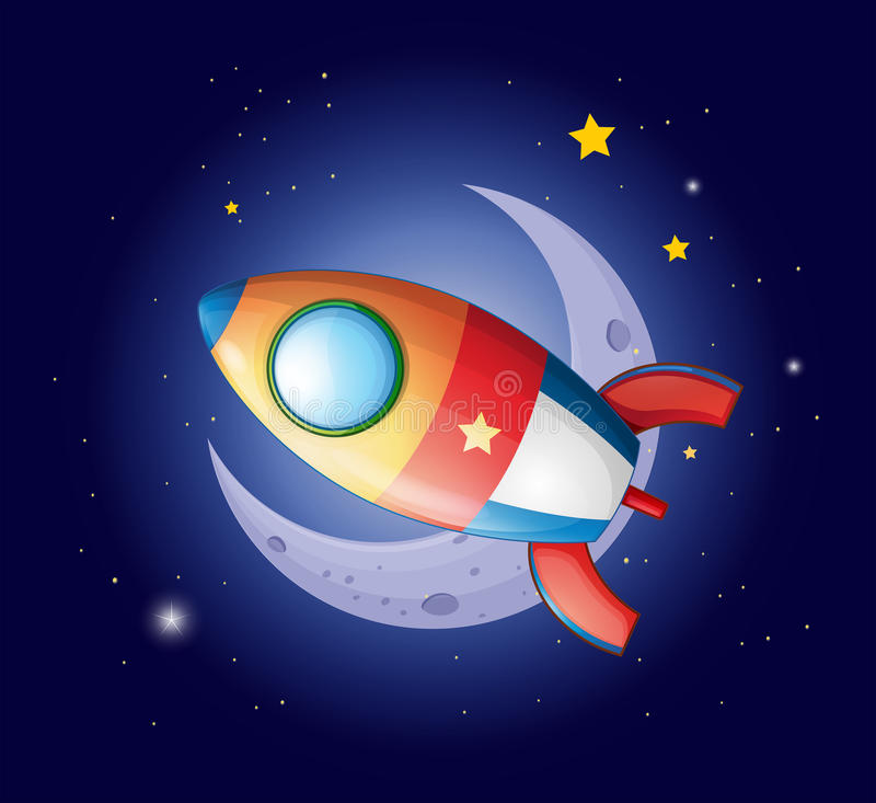 A rocket going to the moon royalty free illustration