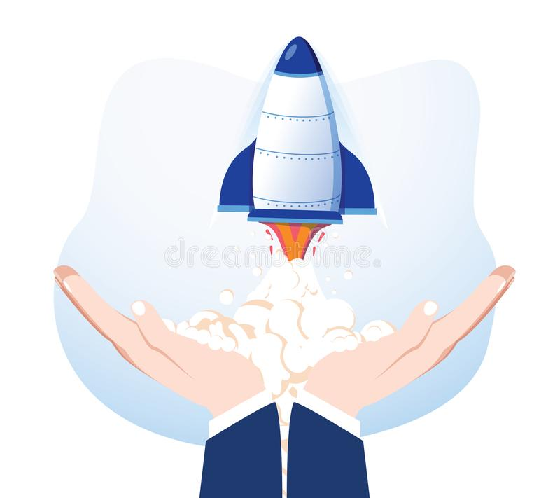 Rocket in hands isolated on background. Launch spaceship. Launching business product, project development. Start up vector illustration