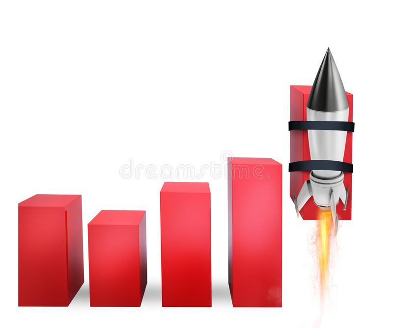 Rocket helps to improve business statistic to grow up. Faster royalty free stock image