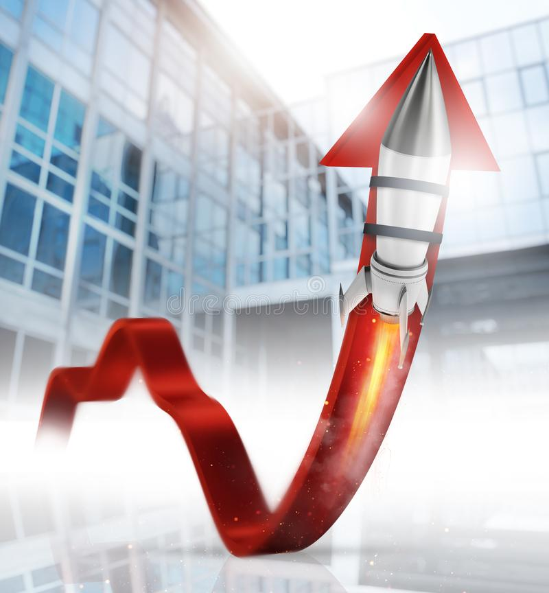 Rocket helps to improve business statistic to grow up. Faster royalty free stock images