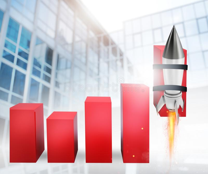Rocket helps to improve business statistic to grow up. Faster stock illustration