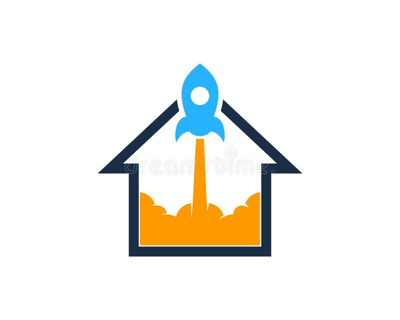 Rocket House Home Icon Logo designbeståndsdel royaltyfri illustrationer