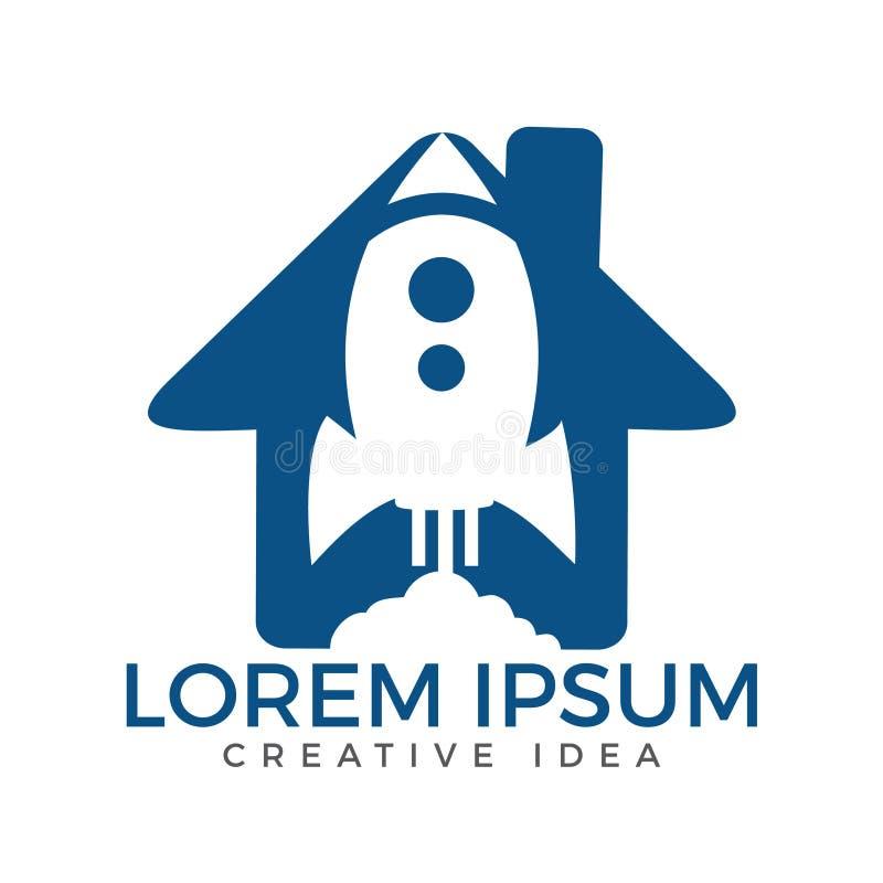 Rocket House Logo,Rocket Logo Vector Logo Template. Start up Rocket Space Ship Abstract Vector Logo vector illustration