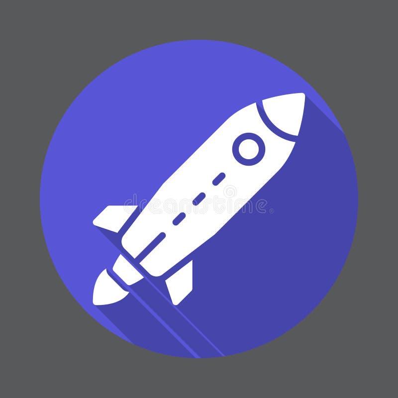 Rocket, icône plate de démarrage Bouton coloré rond, signe circulaire de vecteur avec le long effet d'ombre Conception plate de s illustration libre de droits