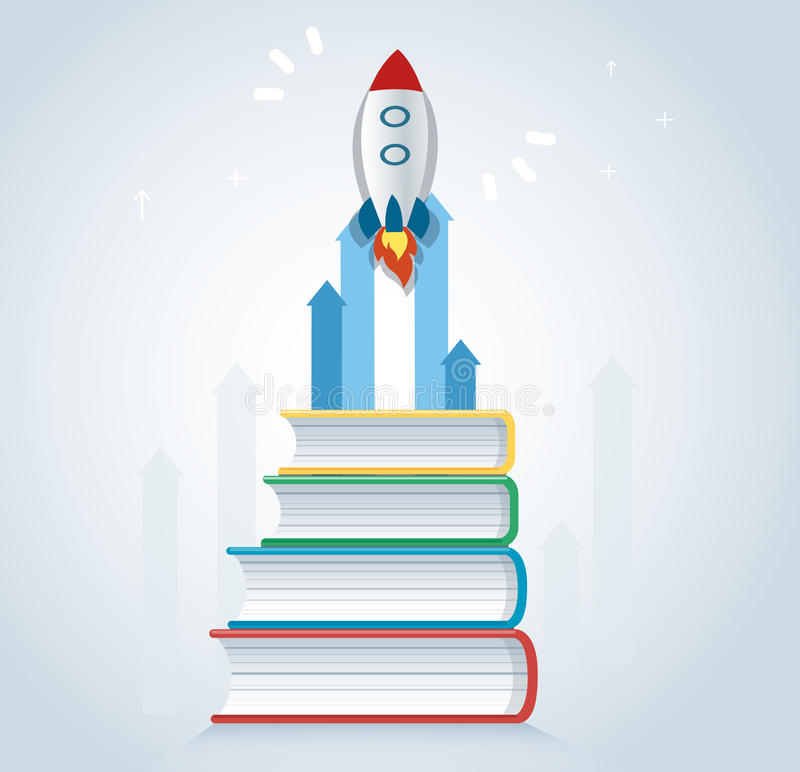 The rocket icon on books icon design vector illustration, education concepts. EPS10 royalty free illustration