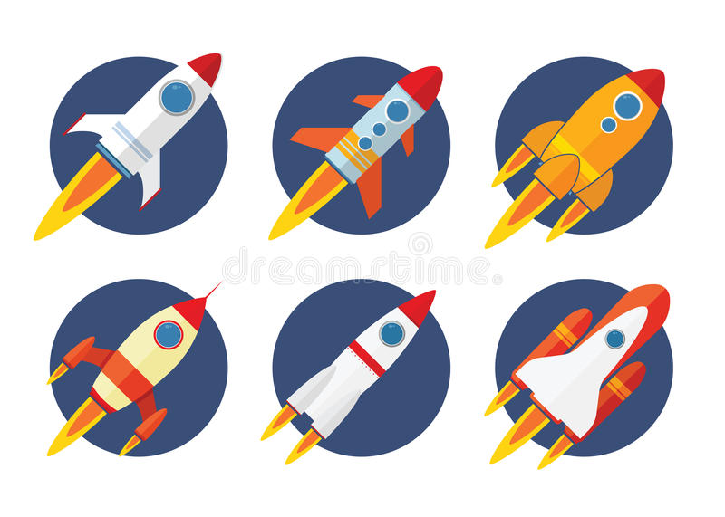 Rocket Icon. Collection set with flat design