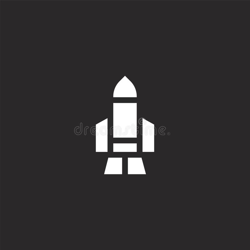 Rocket icon. Filled rocket icon for website design and mobile, app development. rocket icon from filled nerd collection isolated. On black background royalty free illustration