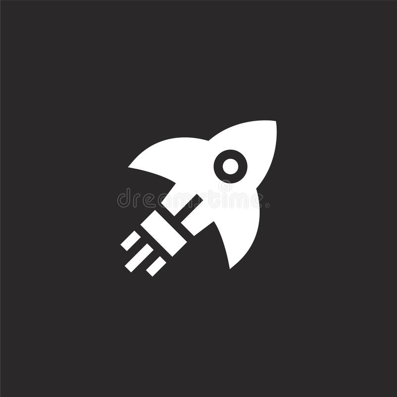 rocket icon. Filled rocket icon for website design and mobile, app development. rocket icon from filled transportation collection stock illustration