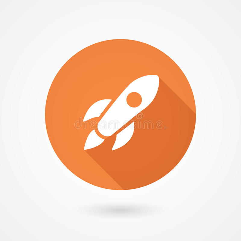 Rocket icon in flat style royalty free illustration