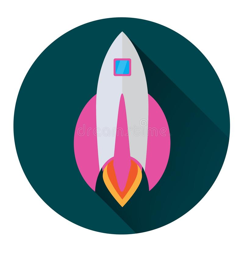 Rocket icon in flat style in a green circle with a long shadow conceptual stock illustration
