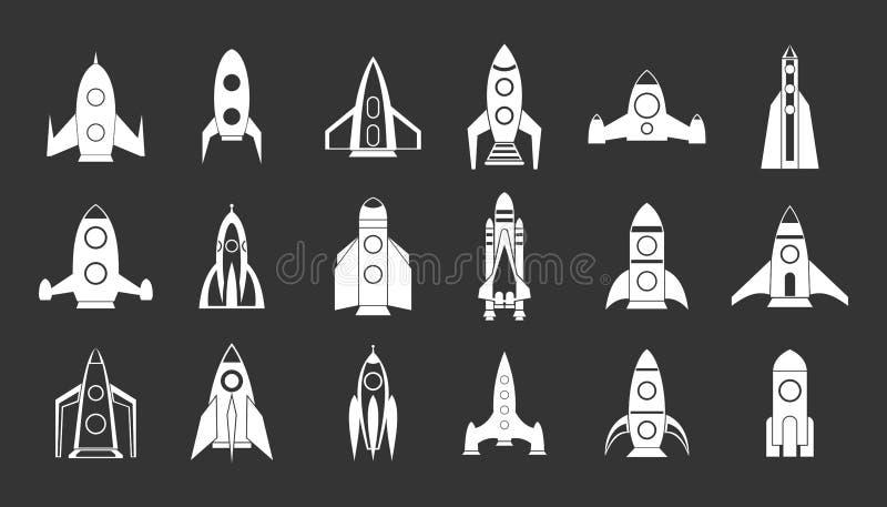 Rocket icon set grey stock illustration